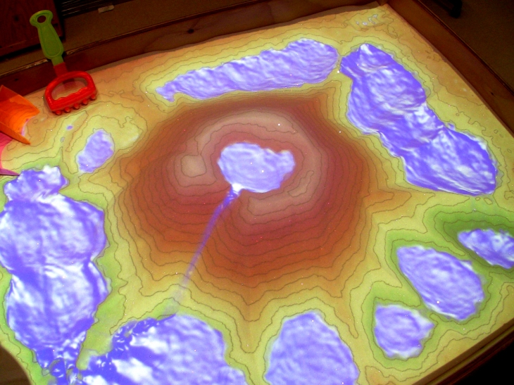 The cornerstone of the LakeViz3D program is their AR Sandbox - a real sandbox which is augmented by a projection of interactive, rapidly updating topographical features, complete with simulated flowing water. (Oliver Kreylos, UC-Davis KeckCAVES / National Science Foundation)