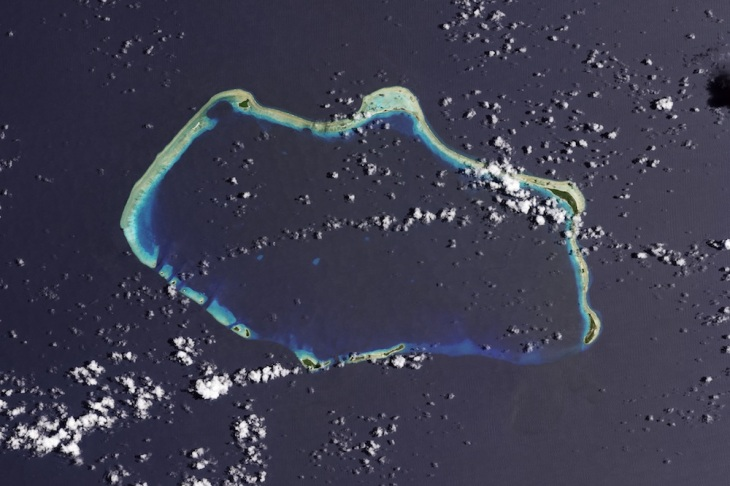 Bikini Atoll, part of the Marshall Islands in the Western Pacific. This image was captured by the Landsat 8 satellite on Aug. 19, 2013 (NASA Earth Observatory / U.S. Geological Survey)