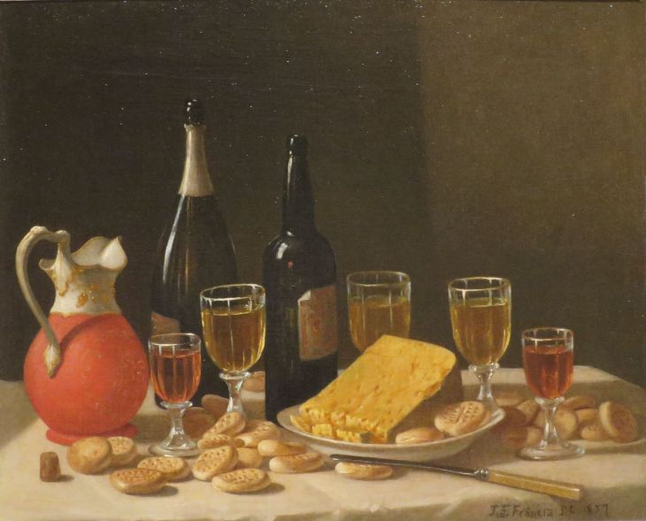 A good wine and cheese can be a perfect opportunity to network - just be sure not to commit any of these social faux-pas while you snack. (John F. Francis, oil on canvas / Wikimedia Commons)